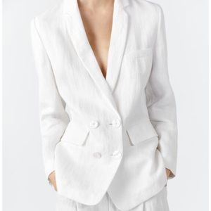 ZARA White Buttoned Double Breasted Linen Blazer